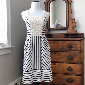 Anthro Maeve Black & White Striped Dress, Size 0